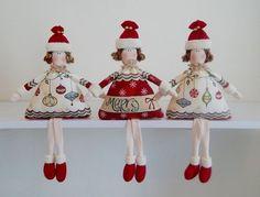 Linda boneca Bonequinha de Natal em patchwork da Amellie
