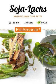 Soja-Lachs - mit Zuckerschotensalat - smarter - Kalorien: 384 kcal - Zeit: 25 Min. | eatsmarter.de Pea Salad, Salmon Fillets, Fish Sauce, Salmon Recipes, Seaweed Salad, Asian Style, Healthy Fats, Asparagus, Green Beans