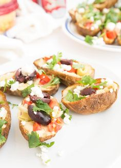 A healthy take on potato skins - Greek Potato Skins from Happy Healthy RD #ad #twospoons