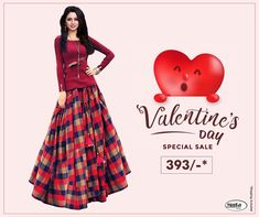 Get Valentine's Day ready without spending thousands of bucks. Check Valentine's Day offers now. Online Shopping For Women, Online Fashion Stores, Fabric Shop, Silk Fabric, Valentine Day Offers, Sale Of The Day, Kids Lehenga, Western Tops, Clothing Items