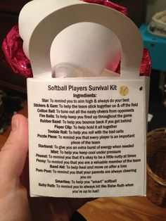 """Softball survival kit filled little goody bags that included the """"ingredients"""" and then printed this sheet out and glued it on the back to explain everything. Great and simple gift the whole team will enjoy :) Softball Team Gifts, Softball Party, Softball Drills, Softball Crafts, Softball Coach, Softball Quotes, Softball Pictures, Girls Softball, Fastpitch Softball"""