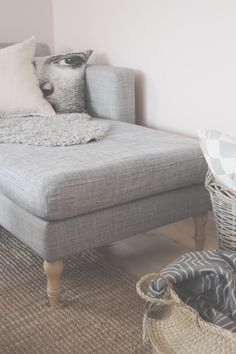 IKEA hack. Karlstad sofa with Stocksund legs. Cheep touch up! - BY JO WITH LOVE