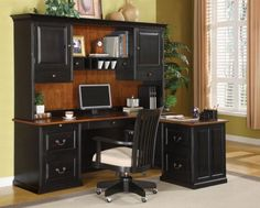 Black Secretary Desk with Hutch