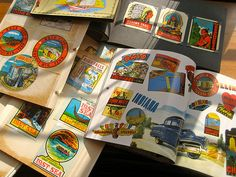 Vintage travel decals