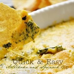 Quick and Cheesy Artichoke Spinach Dip Print Prep Appetizer Dips, Yummy Appetizers, Appetizer Recipes, Spinach Artichoke Dip, Spinach Dip, Chopped Spinach, Artichoke Hearts, Brunch Casserole, Casserole Recipes