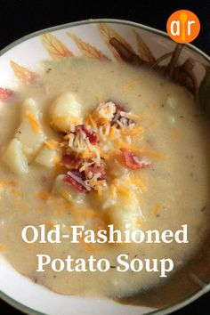 "Old-Fashioned Potato Soup Recipe - - ""This soup is closest to the soup I remember as child. I have seen many renditions of it surface in several bistros. It is easy and the method can be applied to broccoli or cauliflower. Homemade Potato Soup, Vegan Potato Soup, Best Potato Soup, Cheesy Potato Soup, Loaded Potato Soup, Easy Crockpot Potato Soup, Potato Soup Recipes, Cream Of Potato Soup, Recipes"
