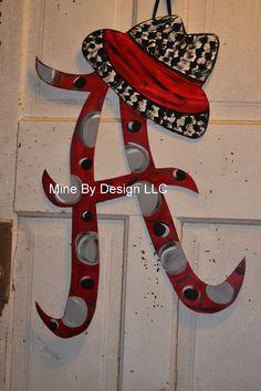 University of Alabama door hanger, door hanging, football, Alabama, door sign. $35.00, via Etsy.