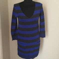 Blue and Grey Striped Sweater Dress Sweater dress by Express, worn once. Excellent condition, no piling/pulls. Express Dresses