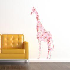 Cherry Blossom pattern Giraffe Wall Decal. $55.00, via Etsy.