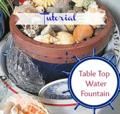 Making Table Top Water Fountains - Making a table top water fountain is easy and you can use many things you have around your home to create it. All you need is…(Table Top Fountain) Small Fountains, Indoor Water Fountains, Indoor Fountain, Garden Fountains, Diy Water Fountain, Tabletop Water Fountain, Garden Water, Diy Water Feature, Backyard Water Feature