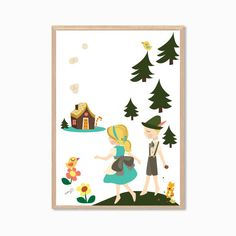 FAIRY TALE Hansel and Gretel Poster Modern by SealDesignStudio