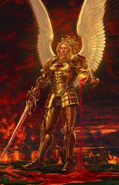 Sanguinius, The Angel, Primarch of the Blood Angels Space Marine Chapter. Warhammer 40k Blood Angels, Warhammer 40k Art, Warhammer Fantasy, Celestial, The Horus Heresy, Archangel Michael, Arte Horror, Angels And Demons, Angel Art