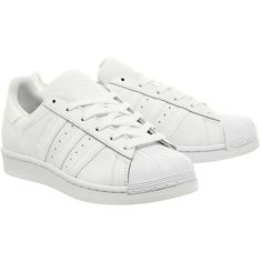 adidas supplied by Office Adidas Superstar 1 Trainers ($96) ❤ liked on Polyvore featuring shoes, sneakers, real leather shoes, topshop shoes, genuine leather shoes, white leather shoes and white leather trainers
