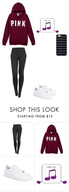 """pink"" by malinas01 on Polyvore featuring LE3NO, NIKE and Happy Plugs"