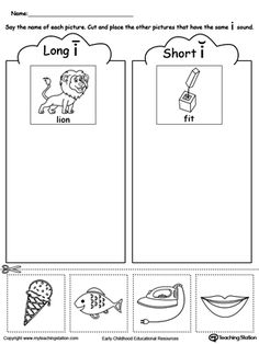 best homeschool  language arts images  long vowel worksheets  short and long vowel i picture sorting