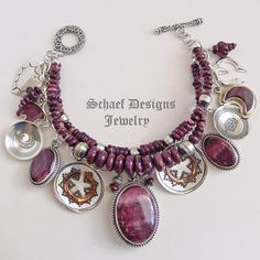 Schaef Designs purple spiny oyster shell & sterling silver Southwestern charm bracelet with Native American Charms | New Mexico