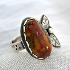 Sterling silver poppy jasper ring.  artisan ring slightly adjustable 6-7+ by Untwistedsister on Etsy