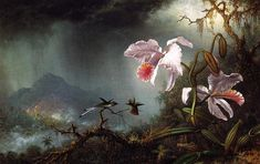 """Two Fighting Hummingbirds with Two Orchids"" by Martin Johnson Heade, Completion Date: 1875."