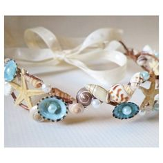Mermaid Sea Shell Crown-Beach Wedding Crown- Hair Accessory-Sea Shell... ❤ liked on Polyvore featuring accessories, hair accessories, flower crown, floral hair accessories, seashell crown, floral crown and flower garland