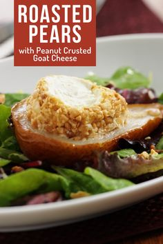 Roasted pear salad recipe with goat cheese atop healthy mixed greens. The warm roasted pears and creamy goat cheese crusted with crushed peanuts makes for an excellent Christmas salad idea or for a cozy autumn night. It's all drizzled with a homemade dressing recipe using red wine and dijon mustard. Start by pan roasting the pears for 25 minutes, top with goat cheese, & back in the oven for 5 more minutes. Great salad for holiday dinners! Visit USAPears.org for more healthy holiday recipe ideas Goat Cheese Recipes, Goat Cheese Salad, Healthy Holiday Recipes, Vegetarian Recipes, Pear Recipes Breakfast, Homemade Dressing Recipe, Roasted Pear, Pear Salad, Salad Topping