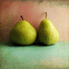 food photograph, kitchen photography, green fruit photograph, pear still life photography, pink aqua photograph, fine art print photo 8x8