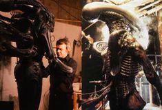 H. R. Giger, the Swiss artist.  You can see putting the finishing touches to his creature before sending the set.