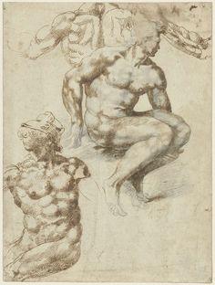 Twee naakten en een rug, Michelangelo, 1485 - 1564  pen in bruin, h 270mm × b 203mm.