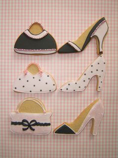 Decorated shoes and handbag cookies. Perfect for girly get together parties High Heel Cookies, Shoe Cookies, Fancy Cookies, Iced Cookies, Royal Icing Cookies, Cupcake Cookies, Sugar Cookies, Lingerie Cookies, Flower Cookies