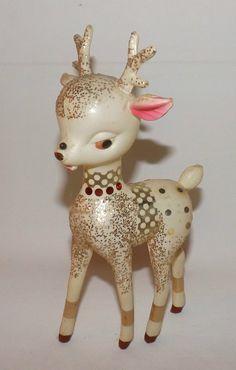Vintage 1940's Soft Plastic Glitter Rudolph Reindeer Deer White Fawn Christmas Figurine
