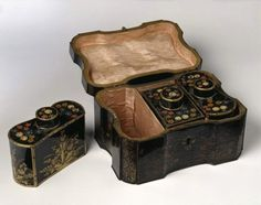 Tea Chest, 1740-1770, made in France -- Japanned wood and tinned iron with pink silk lining (Victoria & Albert Museum)
