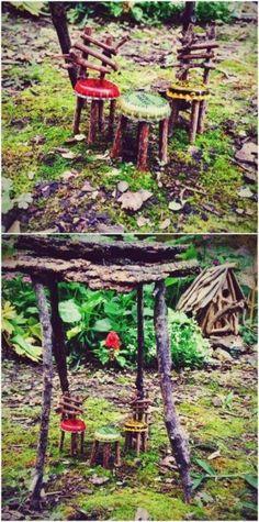 MINIATURE FAIRY GARDEN SPOOL TABLE AND LEAF CHAIRS KIT FAIRY GARDEN CRAFT