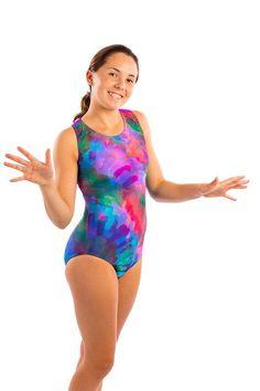 0b60997c06 Girls Gymnastics Dance T-Back Leotard in Stretch Nylon Spandex Colorful  Feather Design by Lizatards