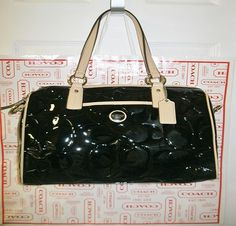 'BNWT, F24189 Coach Sig. Embossed Patent Satchel' is going up for auction at  5pm Sun, Sep 15 with a starting bid of $1.