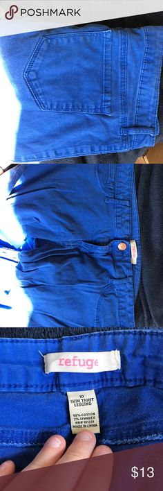 Neon blue Capri jeans Neon blue capris style jeans. Size 10. Gently worn. Brand: Refuge refuge Jeans Ankle & Cropped