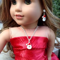 """Santa Claus necklace and matching earring dangles- Holiday/Christmas jewelry set for American Girl/18"""" doll by BFFandMEJewelry on Etsy"""