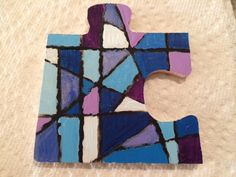 """""""Blues"""" for geekgirl1000100 // Altered Puzzle Piece Swap Round 9 @ craftster.org"""