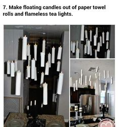 Floating candles where food will be set up