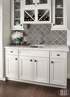 Exciting new addition to the Highland Park Line! The arabesque shape that takes mosaic tiles to the next level, this beauty will make a statement in any home. Available in Dove Gray, Antique White, and Whisper White. #backsplash #msistone