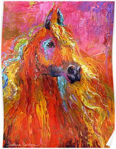 Red Impressionistic Arabian Horse painting by Svetlana Novikova