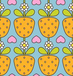 Kinder Stoff Stoffdesign Mädchen Erdbeeren Obst Blumen Herzen orange mint blau rosa pink weiß grün retro 60er 70er Jahre von fummelhummel auf stoffn.de Sandra Thissen