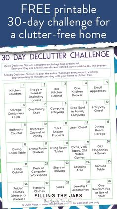30 Day Declutter Challenge This super-easy 30 day declutter challenge is perfect for when you need to declutter your home, but you don't want to have to think about it too much. Start your organizing journey by challenging yourself Squat Challenge, Cleaning Challenge, 30 Day Challenge, Challenge Ideas, Cleaning Tips, Declutter Your Home, Organize Your Life, Minimalism Challenge, I Feel Overwhelmed