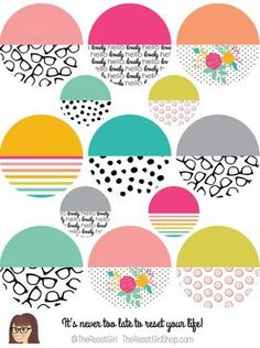 I use sticker from Cori (the Reset Girl) in my journals and planners. I always carry a bunch of them in my bag.  The Reset Girl's Honey Girl Pattern Colorblocked Layering Circles