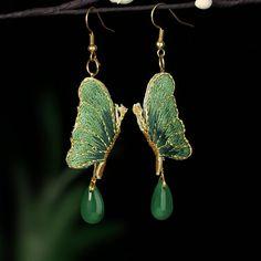 Jade Earrings, Butterfly Earrings, Tribal Earrings, Teardrop Earrings, Red Butterfly, Statement Earrings, Dangle Earrings, Ankle Tattoos For Women Anklet, Swarovski