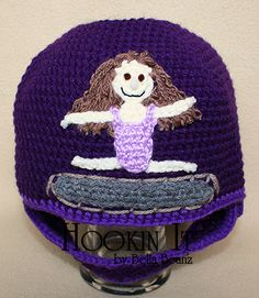 Trampoline Gymnast Crocheted Hat With Chin Strap in Purple