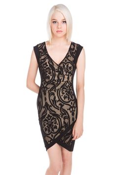 Flocked Lace Wrap Dress