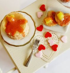1:12 Scale dollhouse miniature Valentines day pancake breakfast set-Scented-Miniature food
