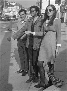Teens, 1966 Three teenagers hitchhiking on the Sunset Strip, Los Angeles, California. via
