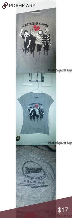 5SOS T-Shirt 5 Seconds of Summer Grey Tee | Says Large probably in youth size but fits Small or Medium in adults | Never worn! | Shirts & Tops Tees - Short Sleeve