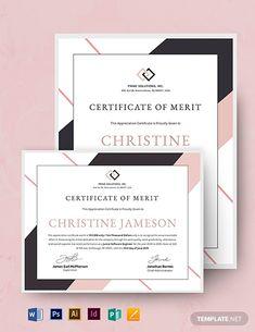 Appreciation Certificate Template for Employee Merit Certificate Layout, Certificate Of Merit, Certificate Of Achievement Template, Certificate Design Template, Certificate Of Appreciation, Letterhead Template, Brochure Template, Flyer Template, Cake Logo Design