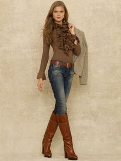 Ensembles : Casual : Fall : Winter : Ralph Lauren : Skinny Jeans : Knee High Brown Leather Boots : Long Sleeved Brown Ruffle Sweater : Tan Suede Blazer